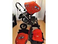 bugaboo cameleon 2 pram ,grey seat,grey cot ,red apron ,spiderman customs ,
