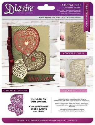 Die'sire Create a Card Metal 3-in-1 Paper Craft Cutting Die - Decadent Hearts