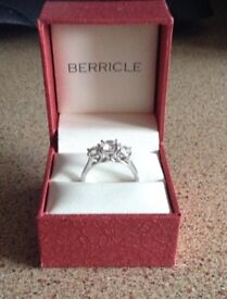 Berricle Sterling Silver Trilogy Ring ( P)