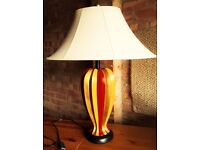 High Quality Table Lamp with Cream Oval Shade & Deep Burgundy & Gold Body