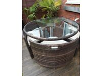 Round Rattan Table and Chairs