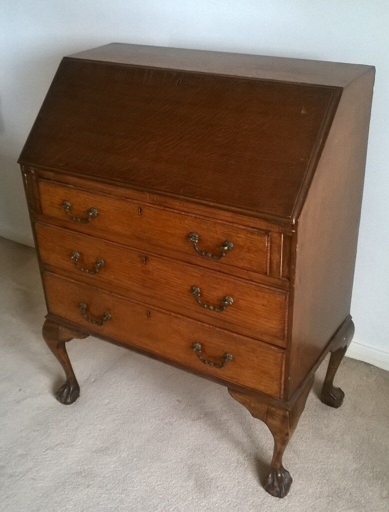 antique writing bureau solid oak drop leaf desk with 3 in good condition in airdrie north. Black Bedroom Furniture Sets. Home Design Ideas