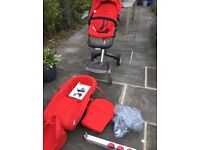 Stokke Pushchair in red with carrycot