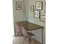 Rustic Industrial Kitchen Table and x 2 grey chairs hairpin steel legs UK DELIV