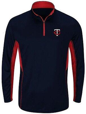 Minnesota Twins Fleece - Minnesota Twins MLB 1/4 Zip Check Swing Synthetic Mens Fleece Big & Tall Sizes