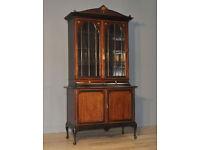 Attractive Large Antique Edwardian Inlaid Mahogany Glazed Door Bookcase Cabinet