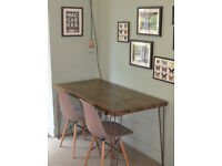 Industrial Kitchen Table and x 2 chairs Mid Century Style hairpin legs UK DELIVERY