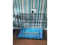 2 door medium dog cage with bed