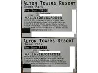 2x Alton Towers tickets for 28/06/2018
