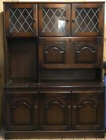 Dresser/Display cabinet with pull down drinks shelf