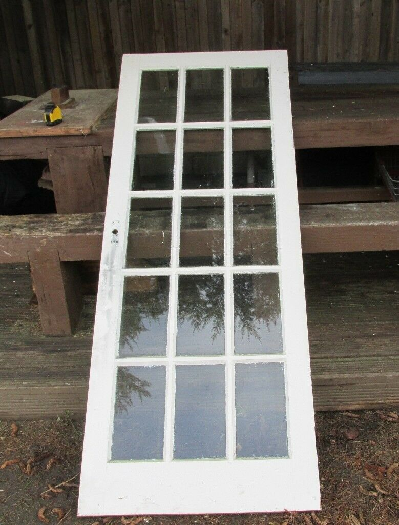 2 X Solid Glass Panelled Doors 77 By 30 Great Quality 10 Give
