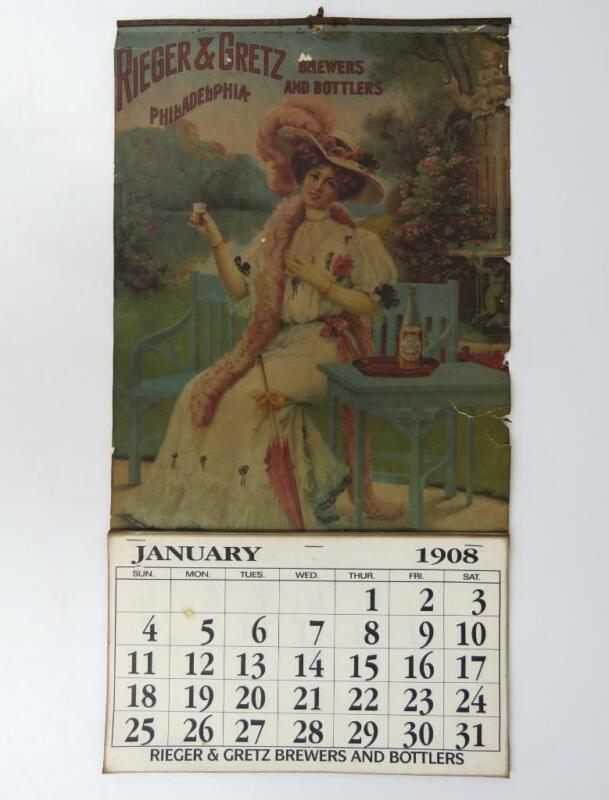 "1908 Rieger & Gretz Brewers & Bottlers Advertising Calendar Complete 21x11"""