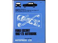 AUTOBOOKS (NOT HAYNES) FORD ESCORT WORKSHOP MANUAL 1967 - 1973 1100 & 1300