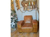 Chesterfield Leather Vintage Distressed Armchair Brown
