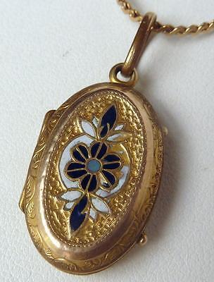 Antique Victorian Gold GF Enamel Hand Etched Flowers Locket Pendant~Old Photos