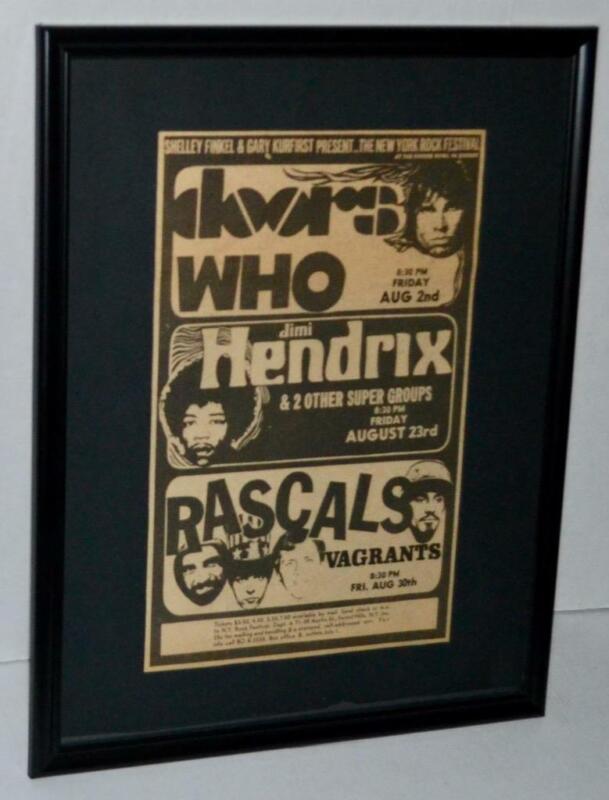 JIMI HENDRIX THE DOORS THE WHO 1968 CONCERT FESTIVAL FRAMED CONCERT POSTER / AD