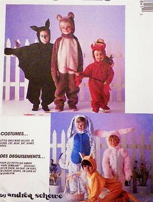 Dog Cat Devil Bunny Bear Bat Costume Sewing Pattern Halloween Size XS Toddler