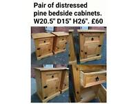 Solid pine bedside chests cabinets tables
