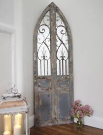 Large gothic style arched mirror