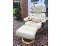 Ekornes Stressless Mayfair Recliner Armchair and footstool
