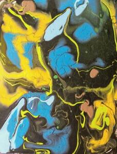 Oakville 8.5x11 Small Original Poured Painting Acrylic Abstract Art Koudelka Black Spacey Oil Mix Cells