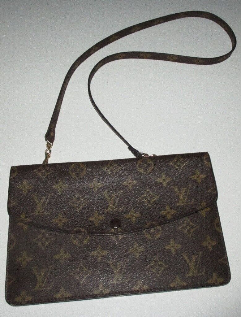 93901301047d LOUIS VUITTON Monogram~Double Rabat-Cross Body Shoulder Clutch Bag-VGC-Det  Strap