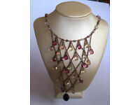 faceted amethyst and crystal drop choker necklace