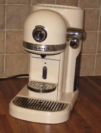 KitchenAid Nespresso coffee machine classic cream, with original box & owner's manual. Nearly new.