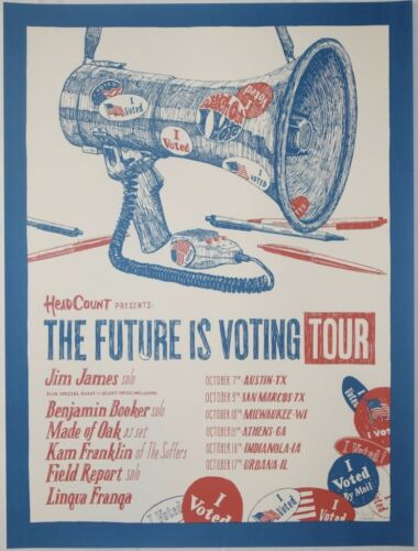 2018 Jim James - The Future is Voting Tour Concert Poster by Landland S/N