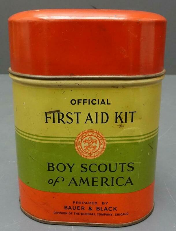 Vtg Boy Scouts of America Official First Aid Kit Litho Tin by Bauer & Black 1932
