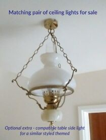 Pair of matching electric (oil light effect) ceiling lights