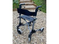 Folding Roma Model 2465 4 Wheel Walker With Seat And Removable Shopping Bag