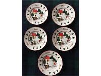 Masons Christmas Village tea Plates