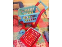Shopping trolley with basket and food