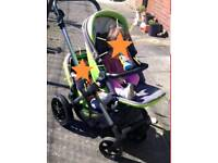USED Twin double pushchair pram buggy Jane Twone + 2 Matrix car seats + 2 raincovers