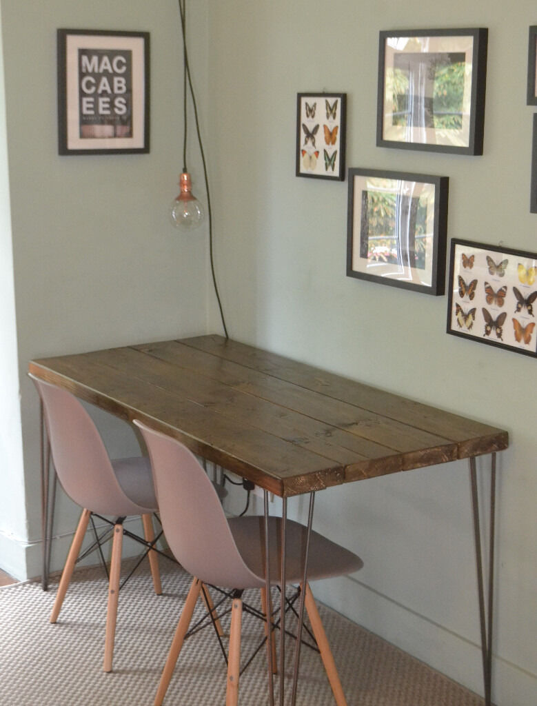 Industrial Kitchen Furniture Rustic Industrial Kitchen Table And X 2 Grey Chairs Hairpin Steel