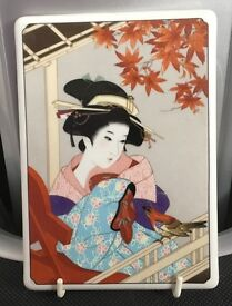 DEUTSCHE NORITAKE PORCELAIN JAPANESE GEISHA WALL PLAQUE