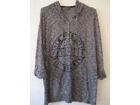Ladies Grey Marl New York City Manhattan Logo Print Sweat Top Hoodie.Size 22/24.