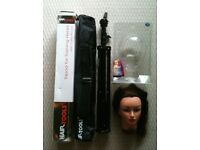 Huge hairstyling lot incl training head, tripod, Instyer rotating iron, clippers, accessoires & more
