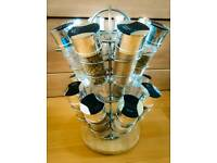 Revolving 2 Tier Spice Rack with 16 glass jars
