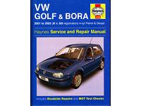 HAYNES VOLKSWAGEN VW GOLF & BORA SERVICE REPAIR MANUAL 2001 - 2003 PETROL & DIESEL