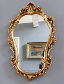 """Ornate Vintage Gilt Framed Princess Wall Mirror. Large 38"""" x 22"""" Shop/hairdresser/hallway/lounge"""