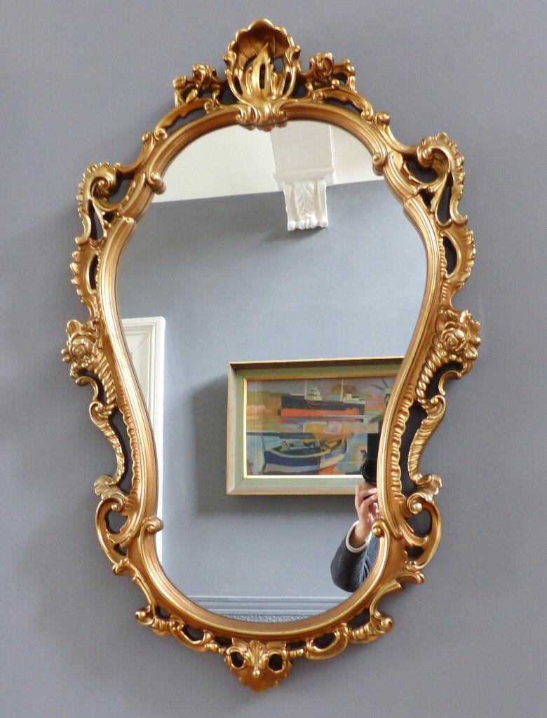 "Ornate Vintage Gilt Framed Princess Wall Mirror. Large 38"" x 22 ..."