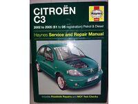 Haynes Workshop Manual for Citroen C3