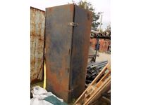 6ft Tall, Old, Rusty, Metal Van Tool Storage Cabinet with 2 Hasps & Staples