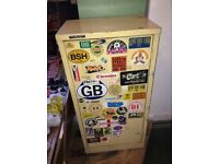 large Workshop storage garage lockable metal cabinet, vintage bike motorbike stickers