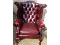 1 x Red Chesterfield Arm Chair, Ref: 11