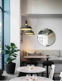 Beautiful, industrial macaron hanging lights with fixtures and fittings.