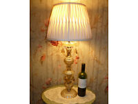 "Large Table Lamp: 22 1/2"", Pressed Glass/Crystal: Gold: NO SHADE"