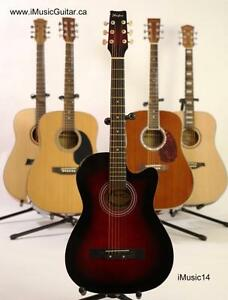 Free Strap and capo with Acoustic Guitar iMusic14 red 38 inch Brand new